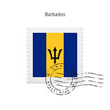 Barbados Flag Postage Stamp.