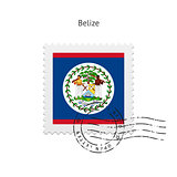Belize Flag Postage Stamp.