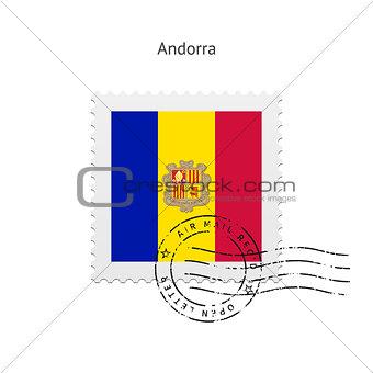 Andorra Flag Postage Stamp.