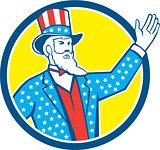 Uncle Sam American Hand Up Circle Retro