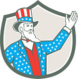 Uncle Sam American Hand Up Shield Retro