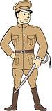 World War One British Officer Standing Cartoon