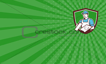 Business card Plasterer Masonry Trowel Crest Retro