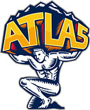 Atlas Lifting Mountain Kneeling Woodcut