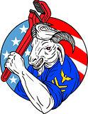 Navy Goat Holding Pipe Wrench USA Flag Circle Retro