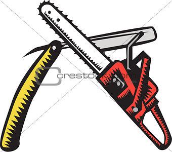 Chainsaw Straight Razor Crossed Woodcut