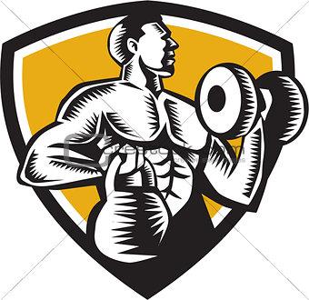 Athlete Lifting Kettlebell Dumbbell Crest Woodcut