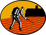 Paver Sealer Contractor House Oval Woodcut