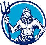 Poseidon Trident Circle Woodcut