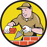Bricklayer Bricks Trowel Circle Cartoon