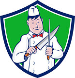 Butcher Sharpening Knife Crest Cartoon