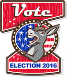 Vote Election 2016 Democrat Donkey Mascot Cartoon