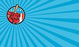 Bulldog Baseball Batting USA Circle Cartoon Business card
