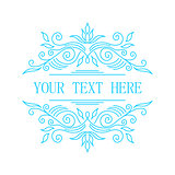 Elegant blue floral frame. Lineart vector illustration with text