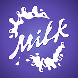Milk label vector Splash and blot design shape creative illustration