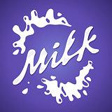 Milk label vector Splash and blot design shape creative illustration