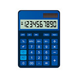 Calculator is made of blue plastic.