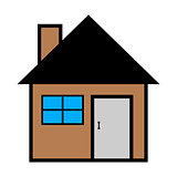 Vector illustration of cool house icon isolated on white background