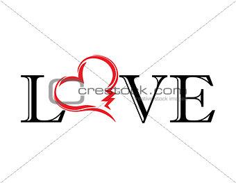 abstract heart. love. tatoo. vector