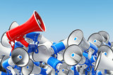 Megaphones. Promotion and advertising, digital marketing or soci