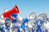 Megaphones. Promotion and advertising, digital marketing or soci