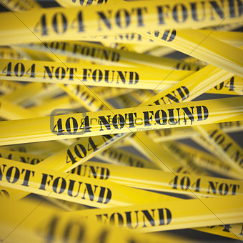 404 not found yellow caution  tape background.