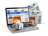 News concept. Laptop with microphone and newspaper isolated on w