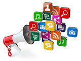 Megaphone with cloud of application icons. Digital marketing con