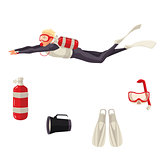 Cartoon scuba diver and diving equipment