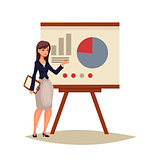 Businesswoman giving presentation using a board