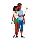 African American dark skinned couple taking selfie
