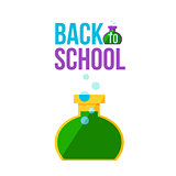 Back to school poster with round chemical retort
