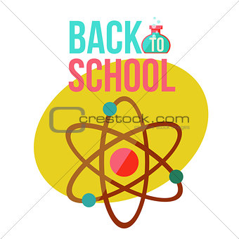 Back to school poster with atomic orbit symbol