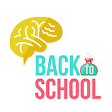 Back to school poster with human brain