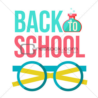 Back to school poster with nerd round glasses