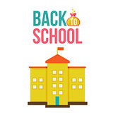 Back to school poster with yellow schoolhouse