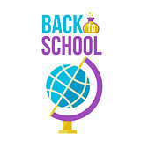 Back to school poster with globe