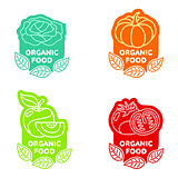 Set of organic food fruit and vegetable logo templates