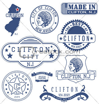 Clifton city, NJ, generic stamps and signs