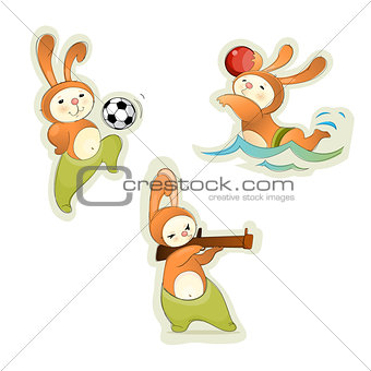 Three sport hares