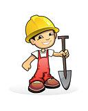 Builder with shovel