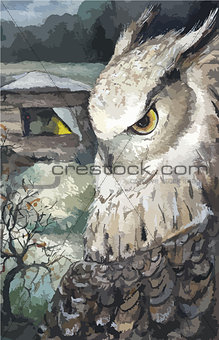 Watercolor Owl Nature Hand Drawn Illustration, vector
