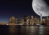 Moon over a Manhattan.