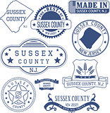 Sussex county, NJ, generic stamps and signs
