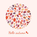 Colorful autumn leaves and text.