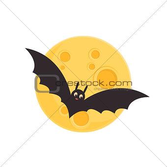 Bat and full moon.