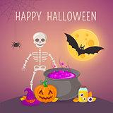 Skeleton and potion cauldron.