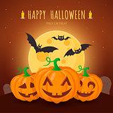Spooky pumpkins on cemetery.