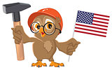 Labor Day USA. Owl holding hammer and American flag