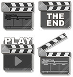 Movie black clapper boards set